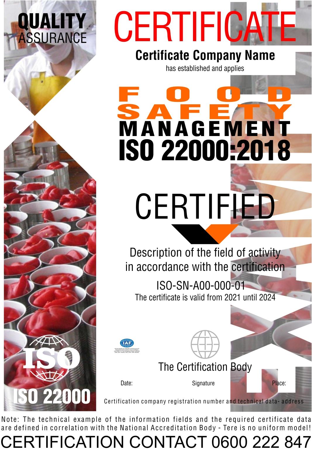 Sertifikacija ISO 22000:2018