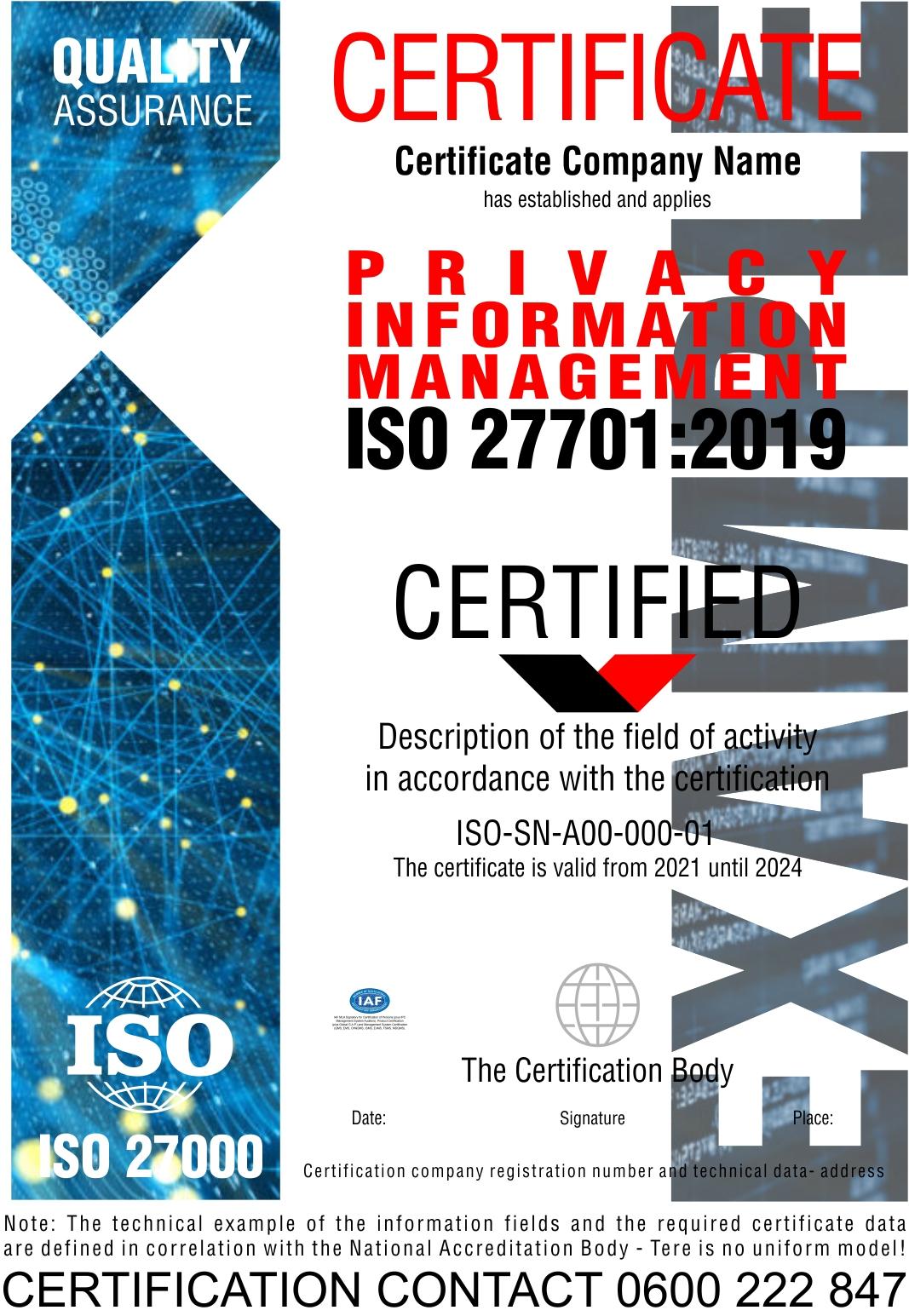 Sertifikacija ISO 27701