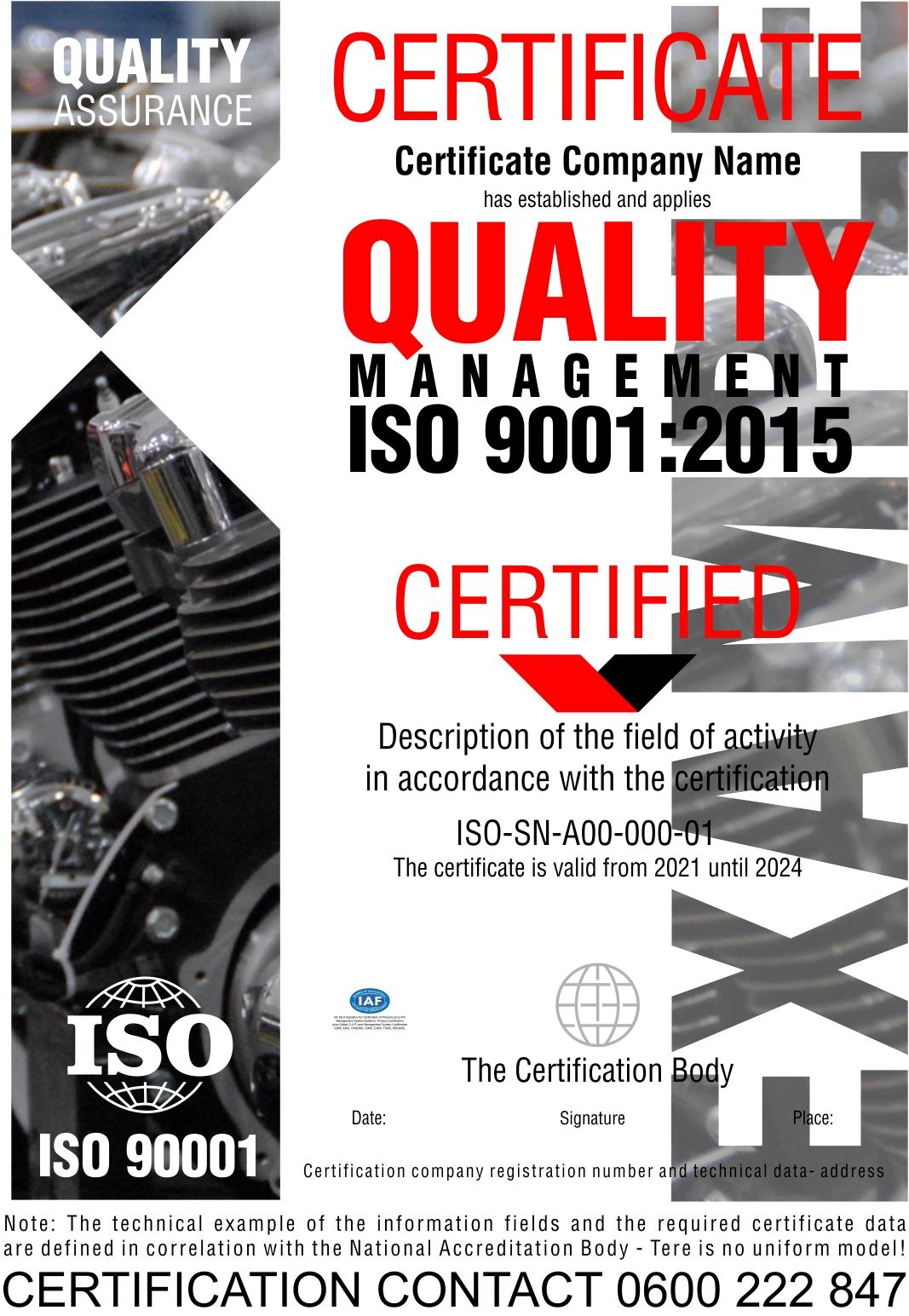 Sertifikacija ISO 9001:2015 QMS